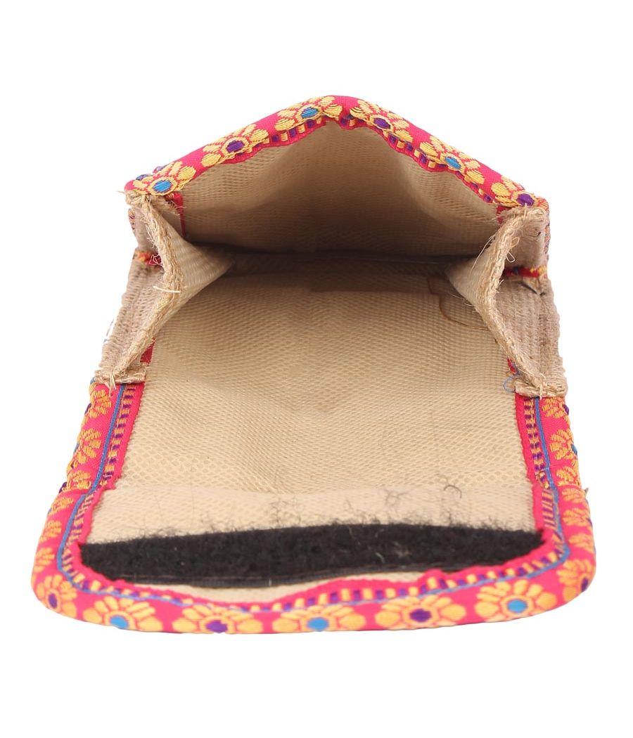Aliado Jute Red and Beige Velcro Closure Sling Bag