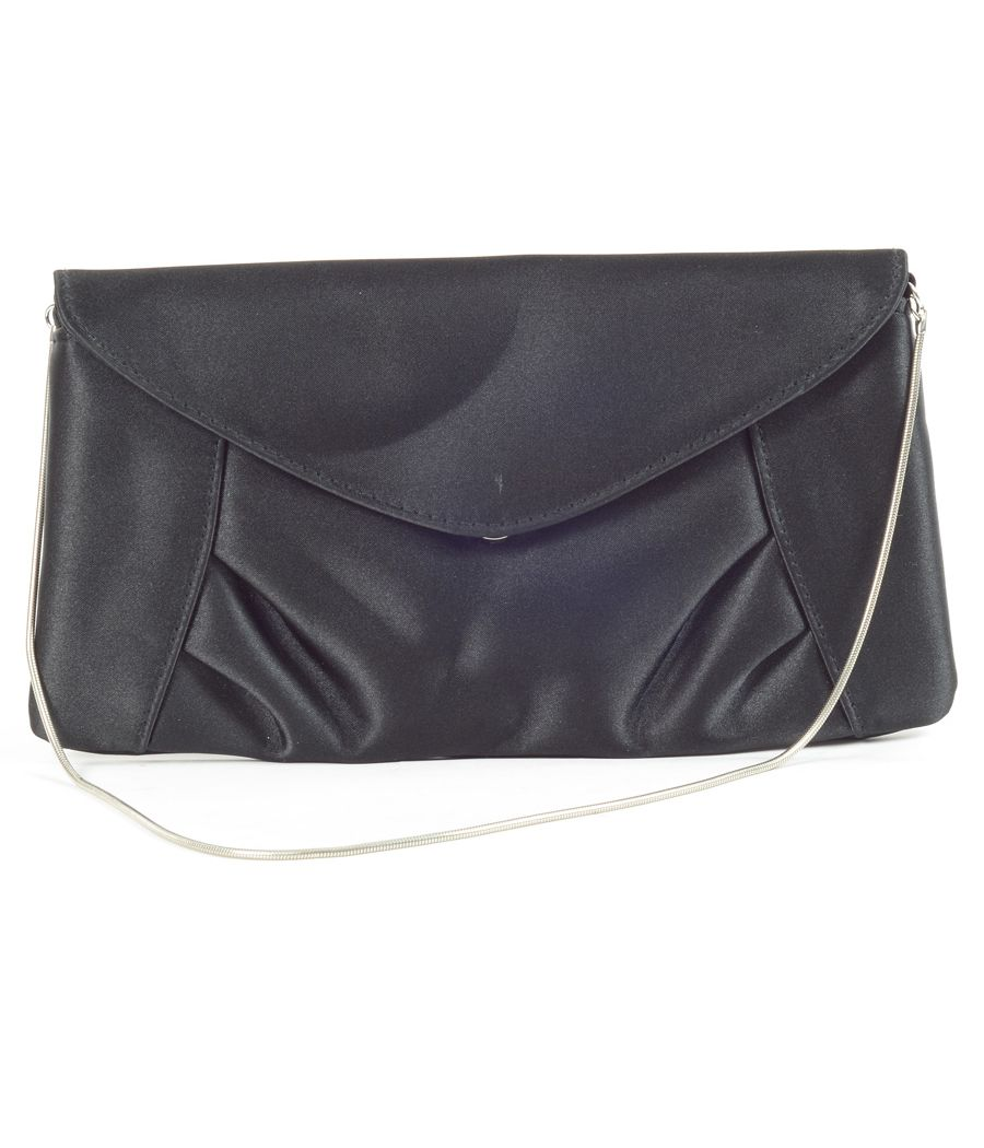 Accessorized Black Clutch With Silver Chain