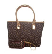 Aliado Faux Leather Printed Black & Beige Zipper Closure Tote Bag