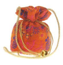 Envie Cloth/Textile/Fabric Embroidered Orange & Multi Potli Bag