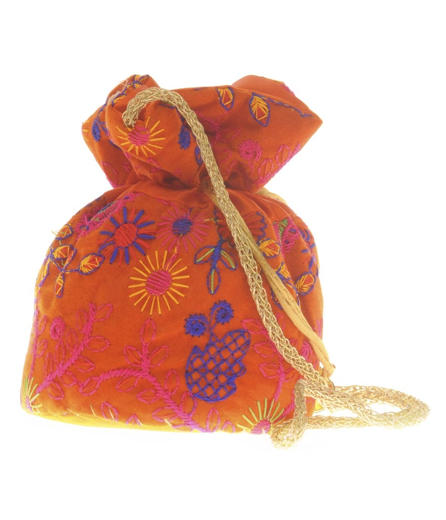 Envie Cloth/Textile/Fabric Embroidered Orange & Multi Potli Bag