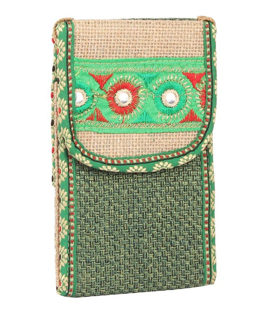 Aliado Jute Green Velcro Closure Sling Bag