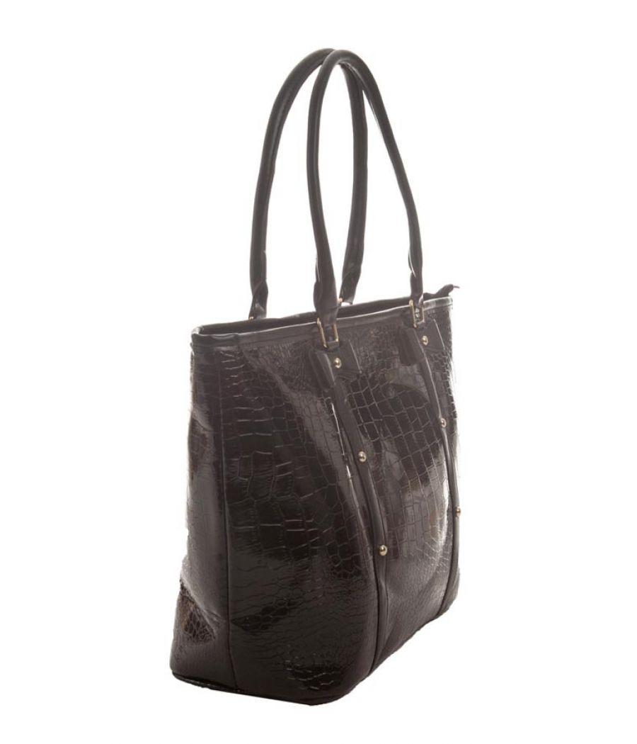 Aliado Faux Leather Solid Black Zipper Closure Ladies Handbag