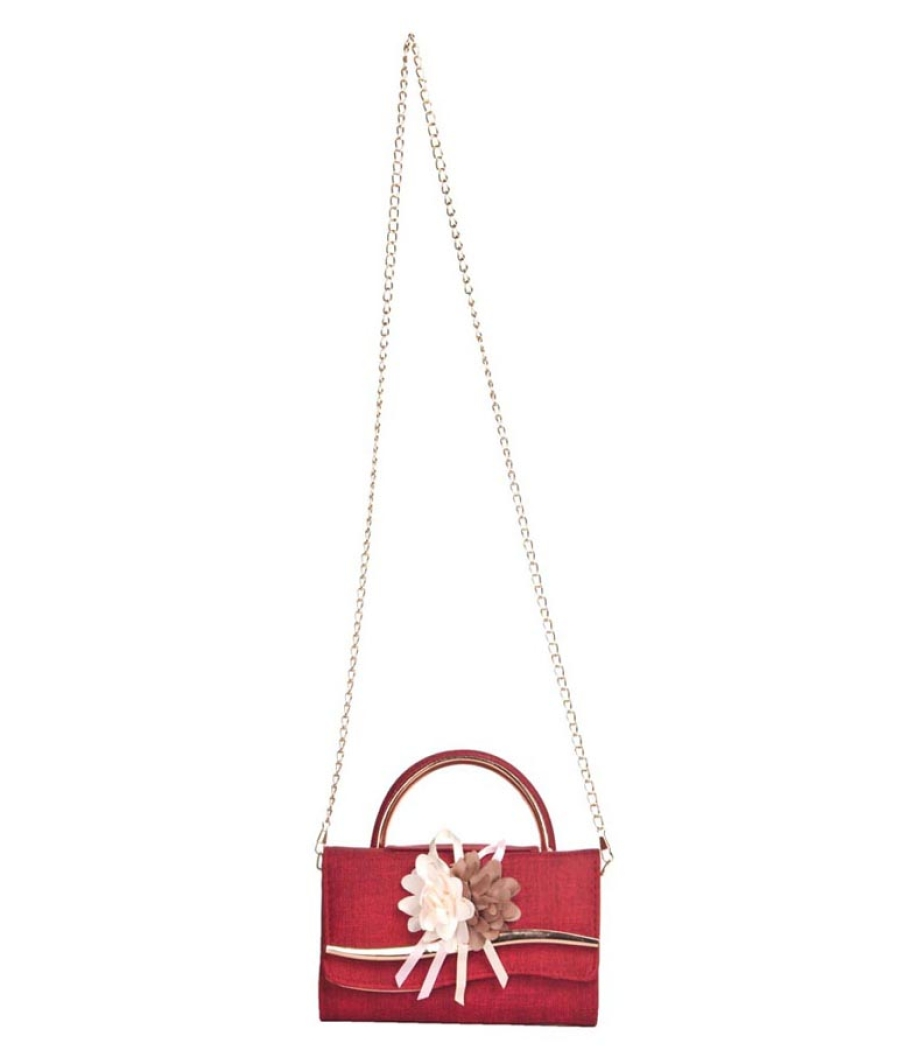 Envie Faux Leather Red Embellished Fold Over Magnetic Snap Sling Bag for Women
