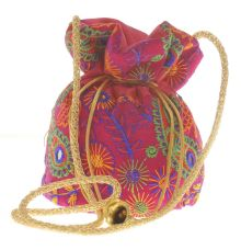 Envie Cloth/Textile/Fabric Embroidered Purple & Multi Potli Bag