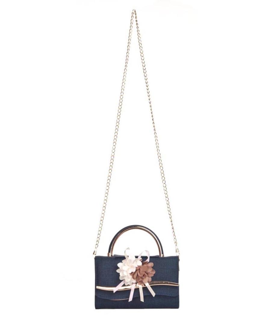 Envie Faux Leather Blue Embellished Fold Over Magnetic Snap Sling Bag for Women