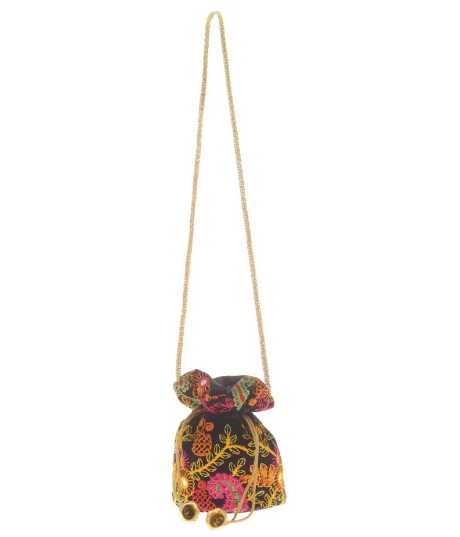 Envie Cloth/Textile/Fabric Embroidered Black & Multi Potli Bag