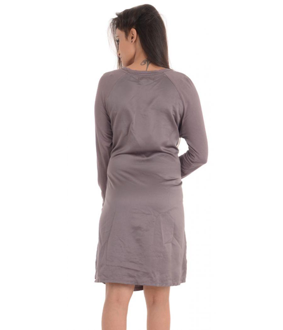 Midnight Carole Hochman Rayon Solid Grey Midi Gown