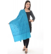 Sky Blue/Dark Blue Embroidered Shawl
