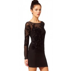 River Island Black Floral Embroidered Bodycon Dress