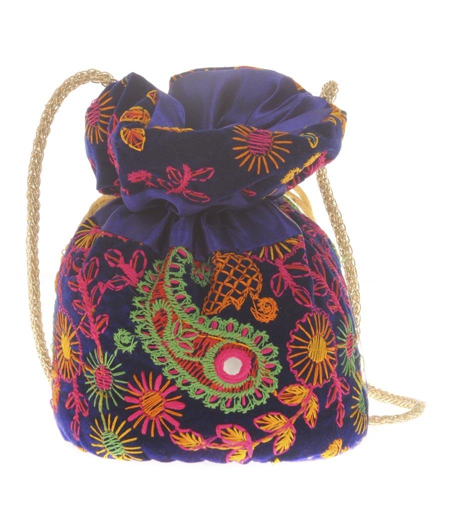 Envie Cloth/Textile/Fabric Embroidered Blue & Multi Potli Bag