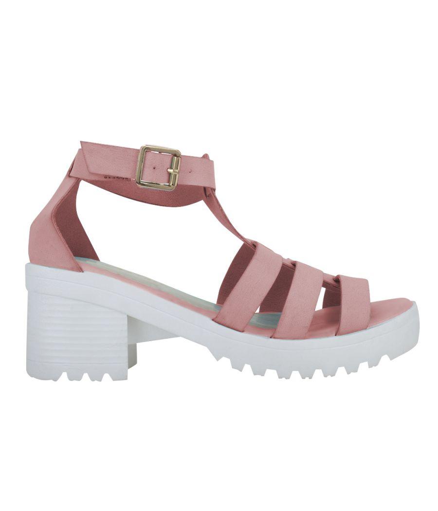 Estatos Faux Leather Block Heel Platform White Sole Strappy Pink Gladiator Sandals for Women