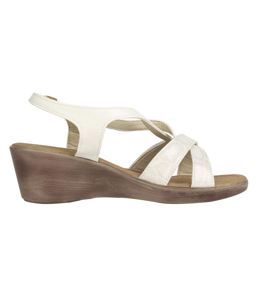 Estatos PU White Coloured  Buckle Closure Open Toe Platform Wedges