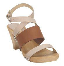 Estatos Leather Brown & Peach Buckle Closure Multi Strap Open Toe Stilettos