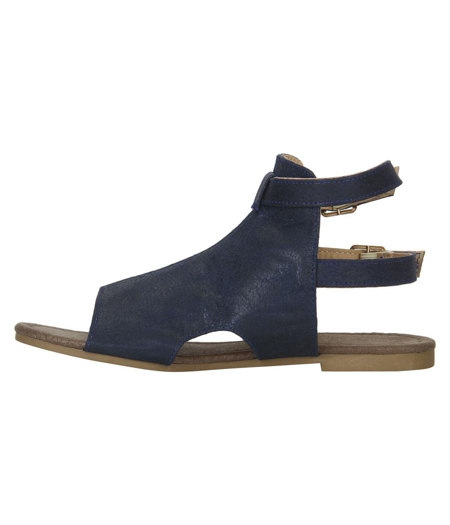 Estatos Navy Blue  Buckle Closure Ankle Strap Open Toe Flat Sandals