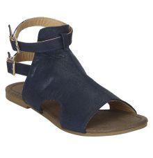 Estatos Navy Blue  Buckle Closure Ankle Strap Open Toe Flat Sandals