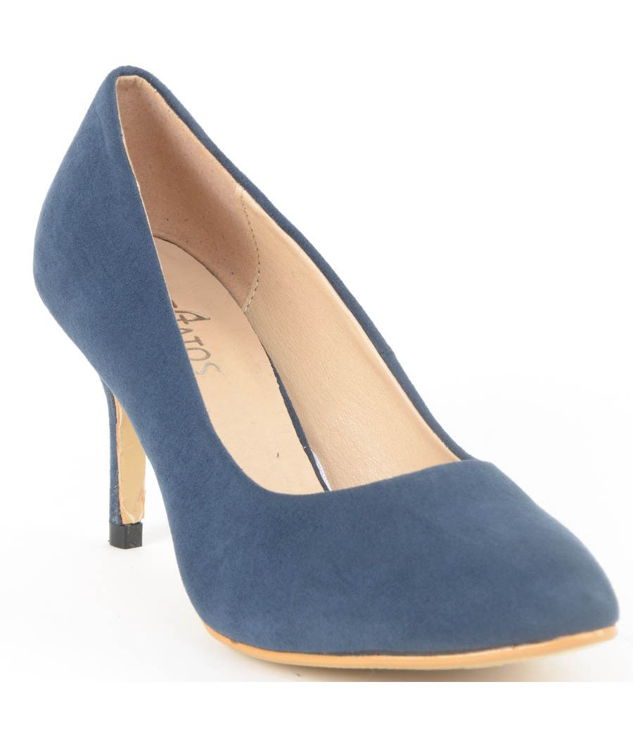 Estatos Suede Leather Pointed Heeled Navy Blue Stilletos