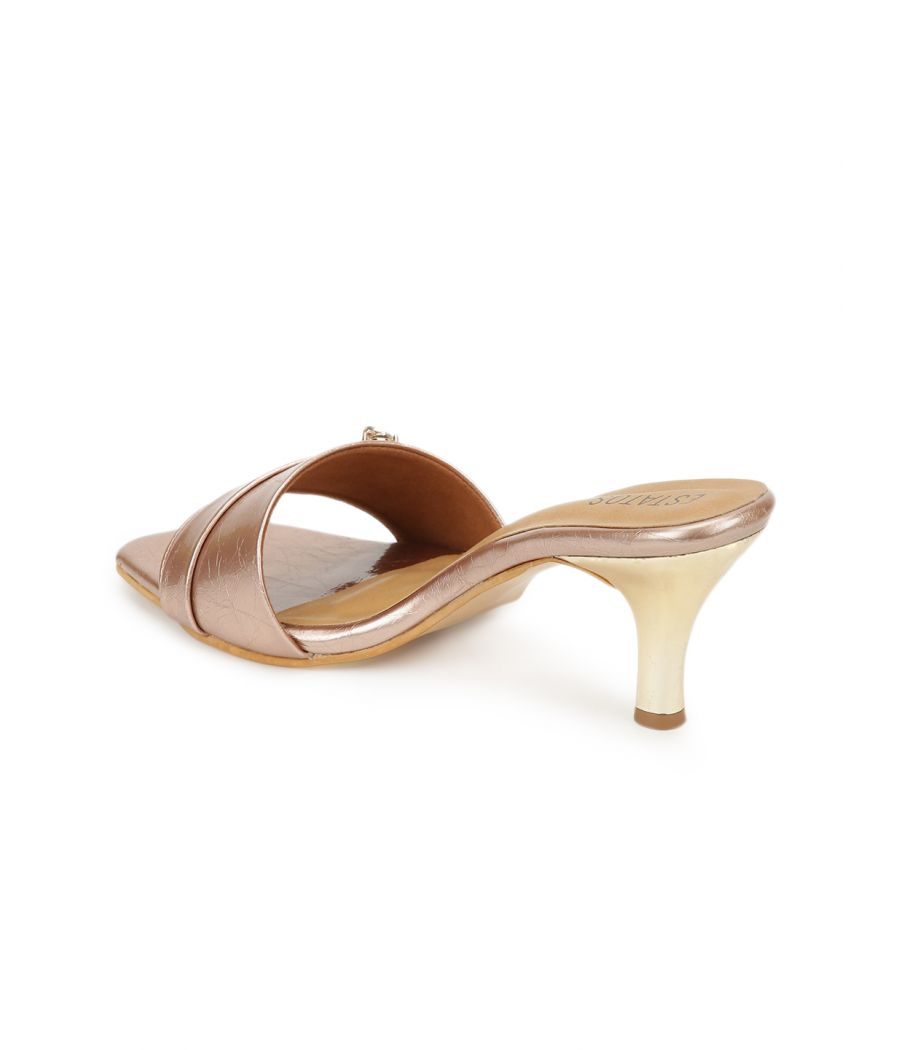 Estatos Synthetic Leather Pointed Heeled Peach Sandal
