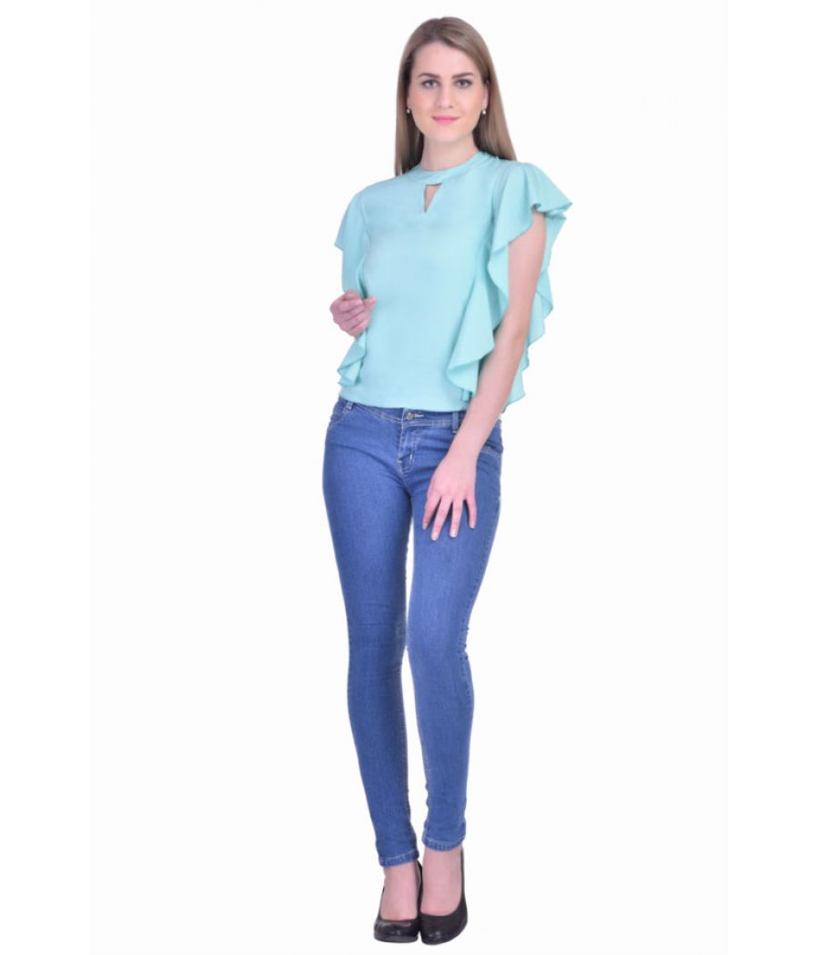Estance Crepe Solid Mint Round Neck Sleeveless Ruffle Top