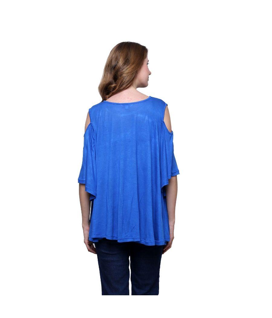Estance Hosiery Solid Cold Shoulder Blue Coloured Top