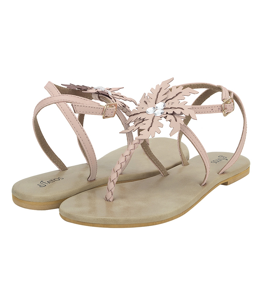 Estatos Summer Cool Leather Embellished with Laser Cut Flower Buckle Closure Pink Flat Sandals for Women