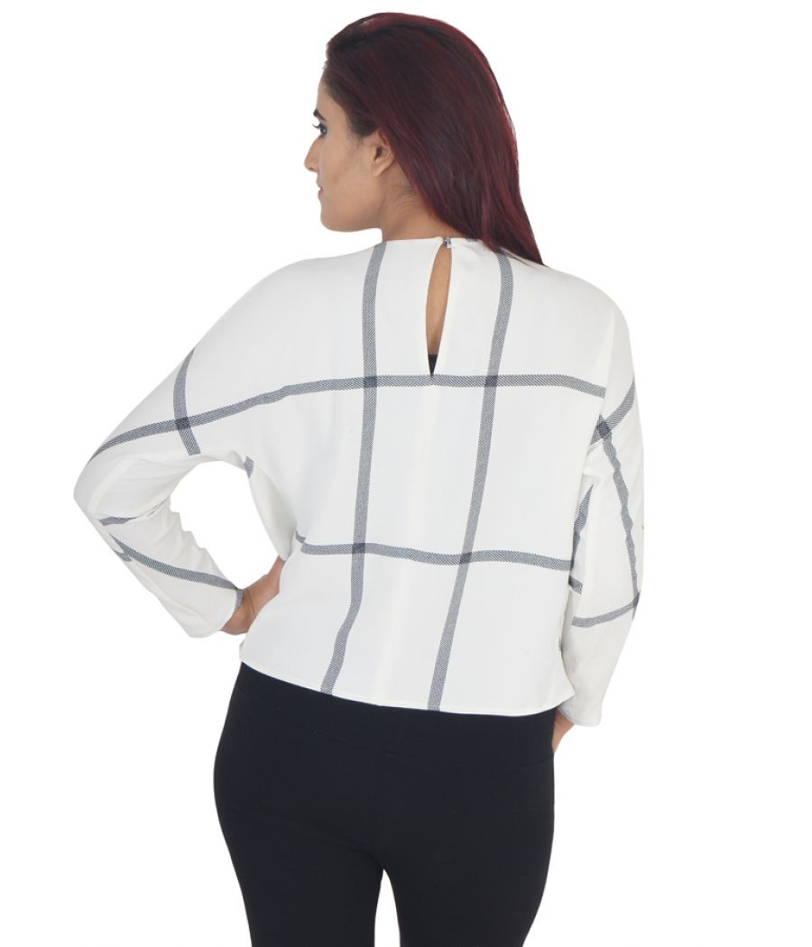 Mango Suit Polycotton Geometric Print Off White & Black U Neck Casual Top