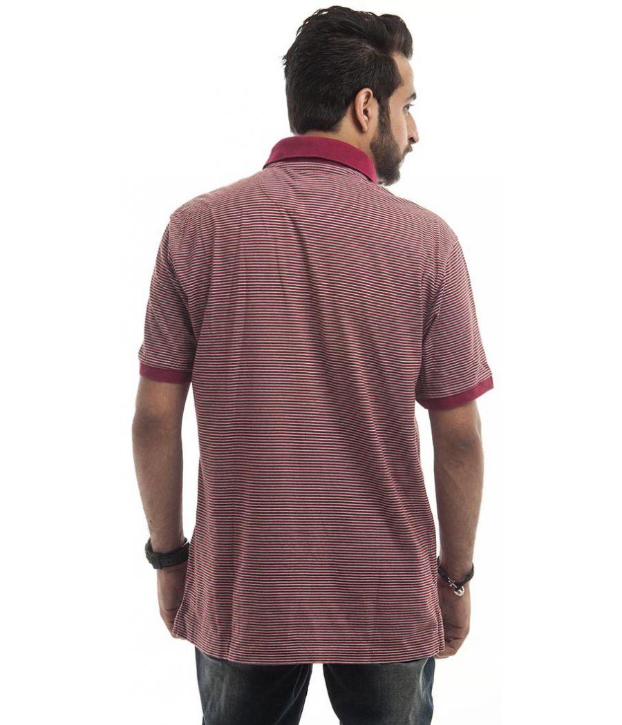 Arrow Polycotton Plain Striped Maroon, White & Navy Blue Casual T-shirt