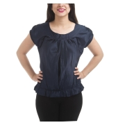 Wills Clublife Satin Solid Navy Blue U Neck Puff Sleeves Gathered Top