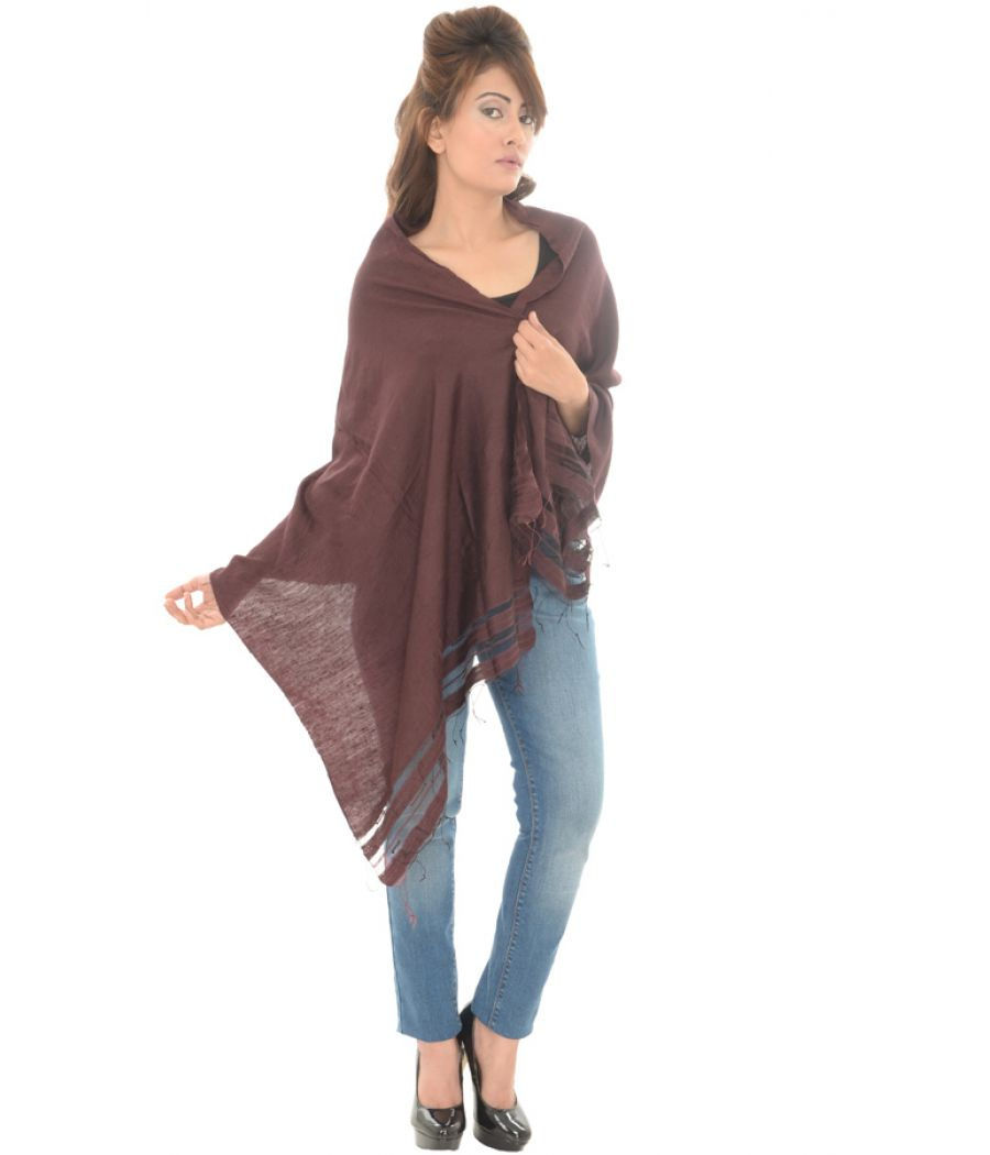 Cotton Blend Plain Brown Stole