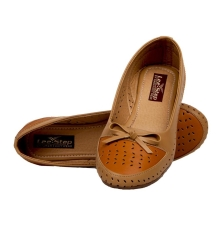 GMF Synthetic Leather Brown Broad Toe Flat Bellies