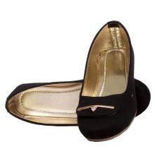 Rudra Collection Synthetic Leather Black Broad Toe Flat Bellies