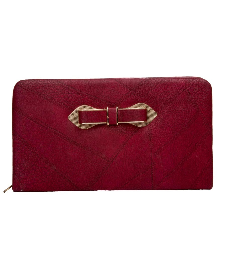 Envie Faux Leather Solid Pink Embellished Zip Closure Clutch