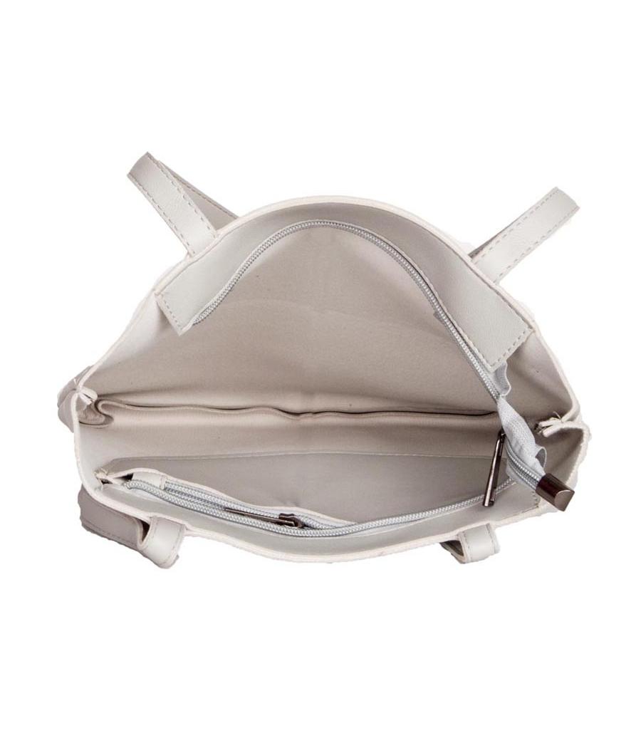 Envie Faux Leather Grey Melange Coloured Zipper Closure Tote Bag