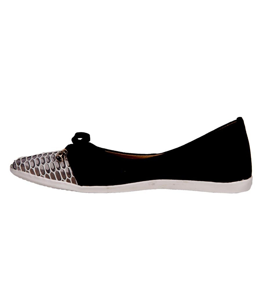 SLN Synthetic Leather Black & White Casual Flat