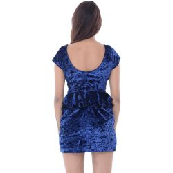 Liquorish Blue Velvet Peplum Dress