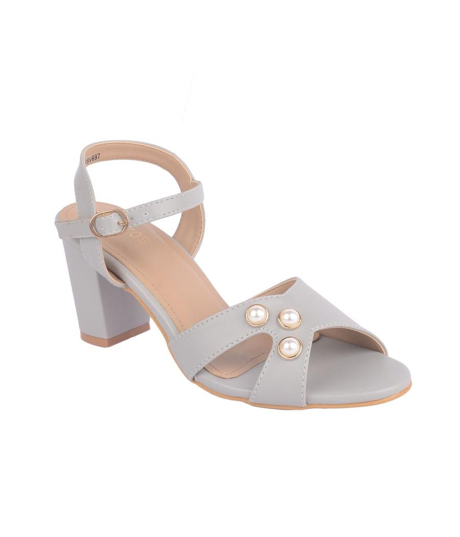 Estatos Synthetic Leather Open Toe Block Heeled Grey  Sandals