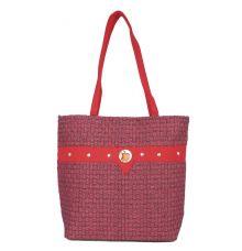 Aliado Jute Magenta  Coloured Zipper Closure Bag