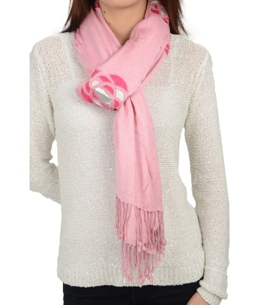 Etashee Certified Pink Stole with Patch work