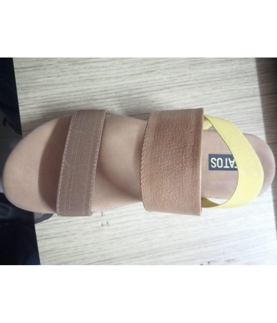 Estatos PU Leather Open Toe Buckle Closure Brown Flat Sandals for Women