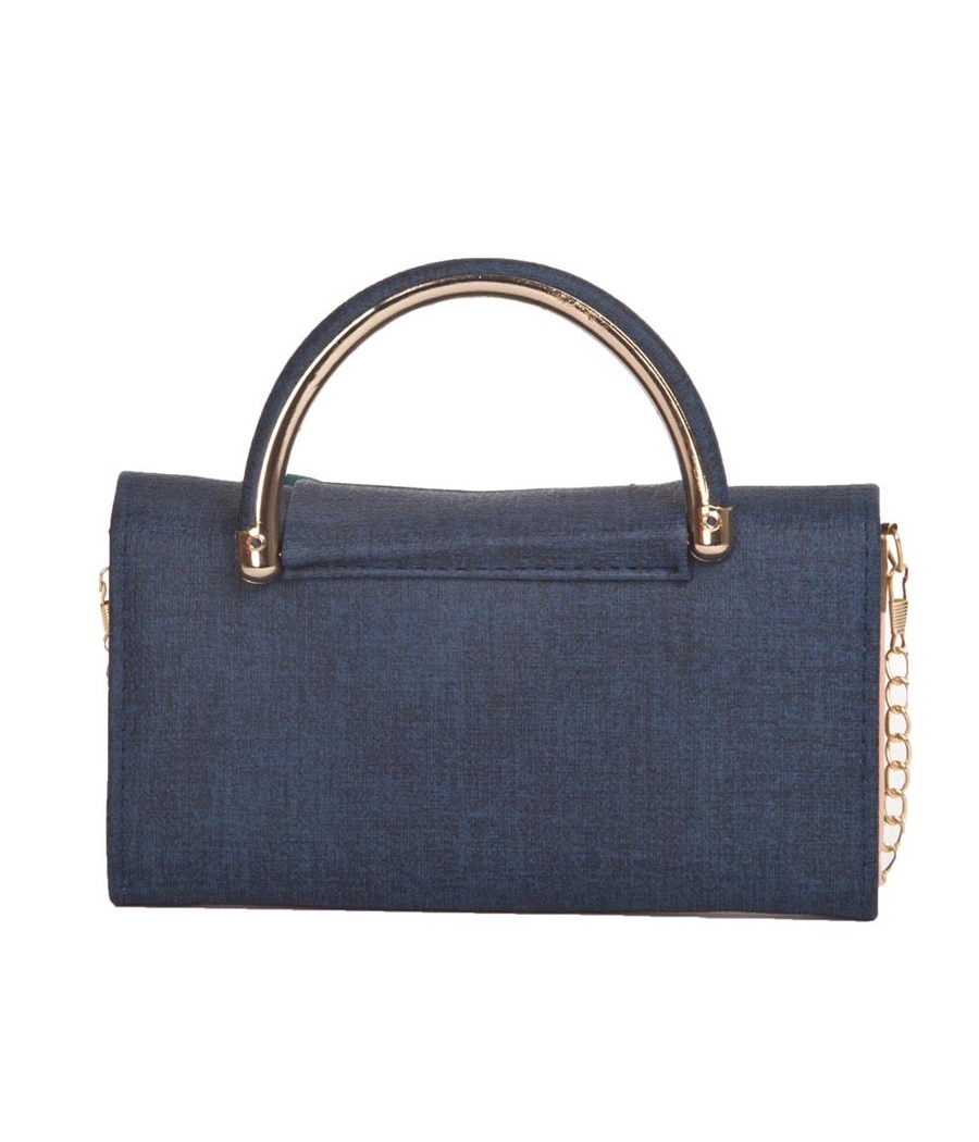 Envie Faux Leather Embellished Blue Coloured Magnetic Snap Closure Clutch