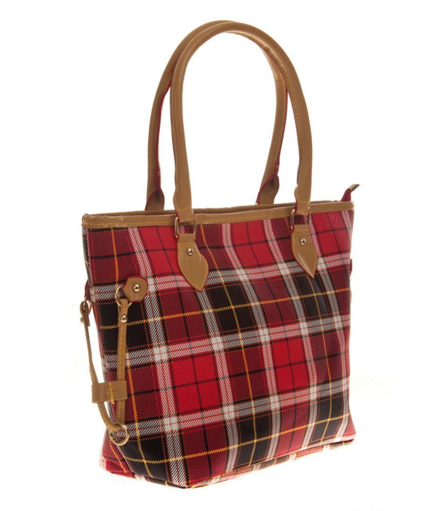 Aliado Cloth/Textile/Fabric Printed Multi & Red Zipper Closure Tote Bag