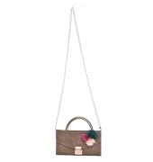 Envie Faux Leather Brown Embellished Fold Over Tuck Lock Sling Bag