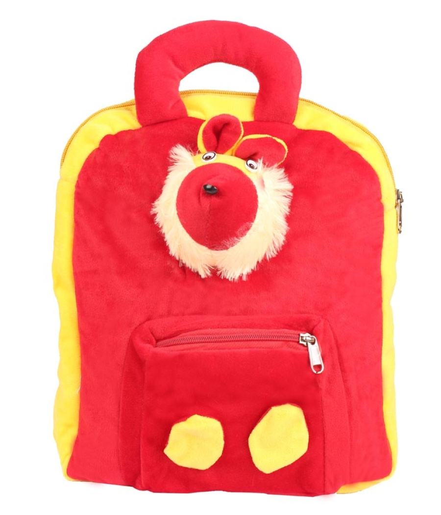 Envie Faux Fur Red and Yellow   Coloured Zipper   Closure Backpack