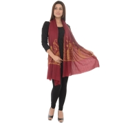 Maroon/Multi Pretty Paisley Embroidered Shawl