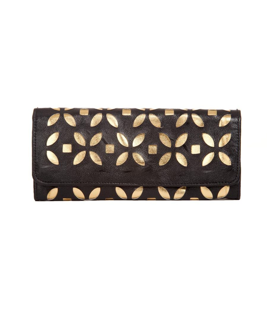 Envie Faux Leather Embellished Black Magnetic Snap  Closure Clutch