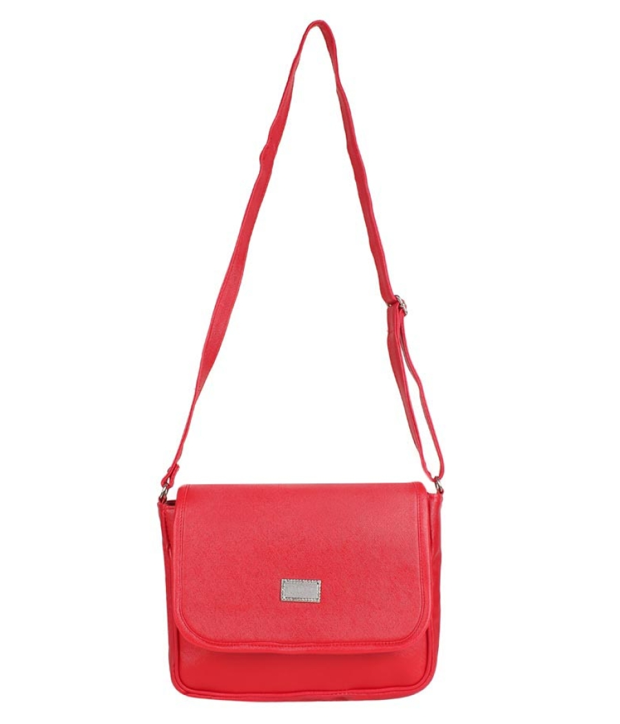Aliado Faux Leather  Red Magnetic Snap Closure Sling Bag