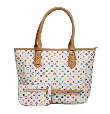 Aliado Faux Leather Printed Multi & White Zipper Closure Handbag