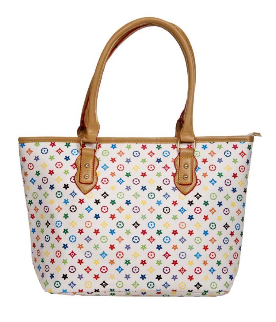 Aliado Faux Leather Printed Multi & White Zipper Closure Handbag