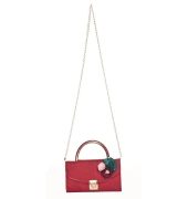 Envie Faux Leather Red Embellished Fold Over Tuck Lock Sling Bag