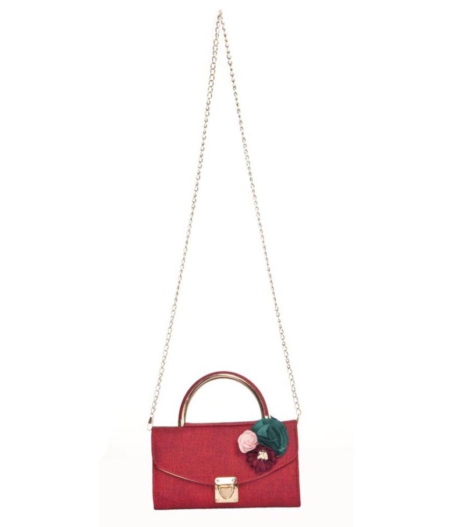 Envie Faux Leather Red Embellished Fold Over Tuck Lock Sling Bag